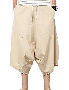 Ropa De Hombre Pantalones Harem De Lino De Algodón Pantalones De Lino Corte Bajo Boca Pantalones Anchos De Piernas...