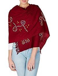maroonred volé pour les femmes accessoires en laine faits à la main dans les cadeaux de foulard de colorant de cravate de l'Inde pour les filles 24x70 pouces