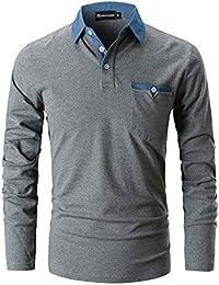 c21d790e21 GHYUGR Polo para Hombre Mangas Largas Denim Costura Camisas Algodón Slim  Fit Camiseta Golf Poloshirt T