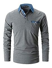 Idea Regalo - GHYUGR Polo da Uomo Manica Lunga Maglietta Cotone Cuciture in Denim Collare Casuale Poloshirt Camicia Golf T-Shirt,XL,Grigio