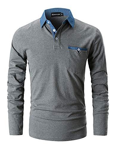 GHYUGR Poloshirts Herren Basic Langarm Baumwolle Polohemd Denim Nähen Golf T-Shirt S-XXL,Grau 1,XXL