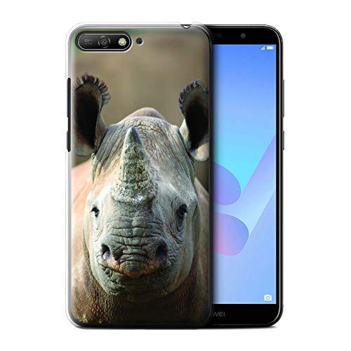 Hülle Für Huawei Y6 (2018) Wilde Tiere Nashorn Design Transparent Ultra Dünn Klar Hart Schutz Handyhülle Case