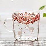 Sakura - Tazza in vetro borosilicato con manico, design con graziosi animali stampati, ideale come regalo per bambini per tè, latte, espresso, succhi di frutta, latte Sakura Deer