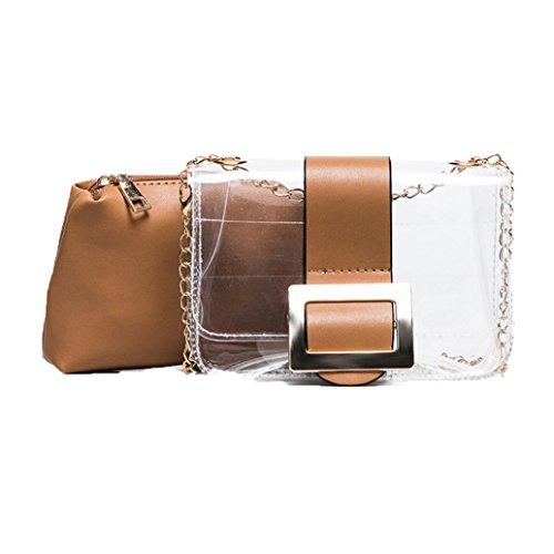 BZLine® Frauen Transparente Taschen Damen Box Wasserdichte Lady Messenger Handtaschen Braun