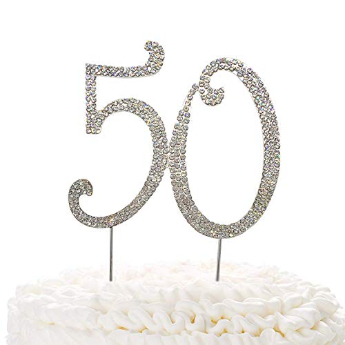 15 adornos de oro para tarta, cristales brillantes de imitación de 15 cumpleaños o aniversario, ideas de decoración de fiesta de aleación de metal de calidad, perfecto recuerdo Siliver 50