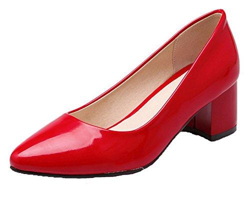 VogueZone009 Donna Pelle Di Maiale Scarpe A Punta Tacco Medio Colore Assortito Ballerine Rosso