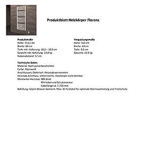 Der Renovierungsprofi Handtuchwärmer Florenz, elektrisch mit Heizstab, 153x60 cm, alpin-weiß, Heizpatrone mit Spiral-Kabel und Schuko-Stecker, Handtuchhalter-Funktion von NN auf Heizstrahler Onlineshop