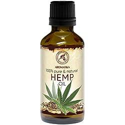 Huile de Chanvre Vierge 100% Pur et Naturelle 50ml - Cannabis Sativa Seed Oil - Bouteille en verre - huile de Base - Massage - Cosmétiques