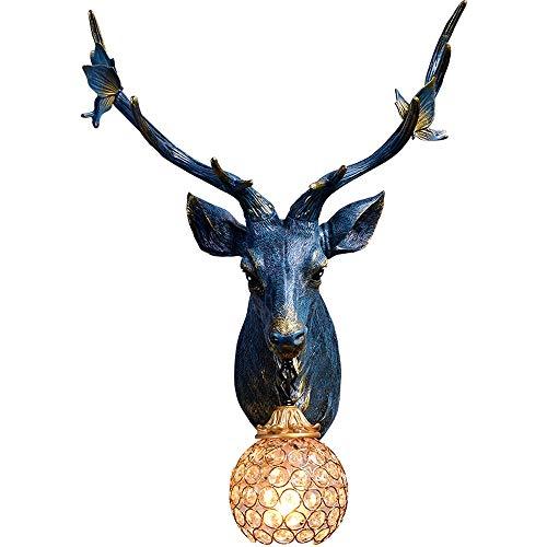 Retro Harz Geweih Lampe Kreative Dekoration Hirschkopf Wandleuchte Wohnzimmer Hintergrund Wand Nacht Persönlichkeit Wandfläche Dekorative Hirschkopf Wandleuchte - Geweih-bad Möbel
