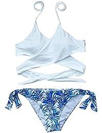 74d1da42251630 Manadlian Frauen Mädchen Bikini Set, Frau Niedrige Taille Hochdrücken  Gepolsterter Bh Split Bikini Set Bademode…