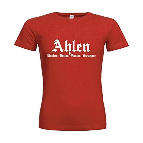 MDMA Frauen T-Shirt Classic Ahlen Harder, Better, Faster, Stronger N14-mdma-ftc00311-402 Textil red / Motiv weiss / Gr. XXL