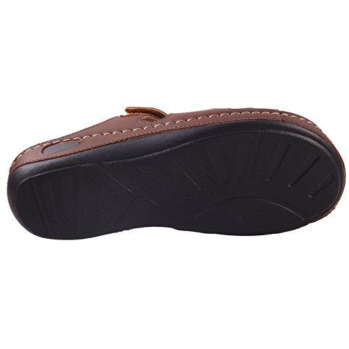 Unze Womens ' Nuby ' pantofole comode per camminare Marrone