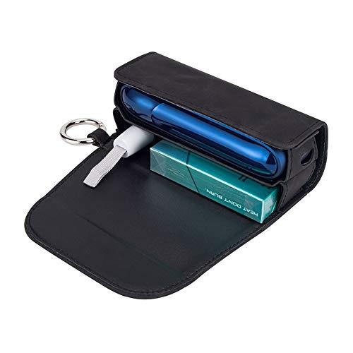 DrafTor E Zigarette Tasche, PU Leder Zigarettenetui für IQOS 3.0 mit mit Clip oder Schnalle (nur Geldbörse)(schwarz)