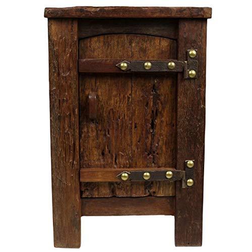 Oriental Galerie Nachtschrank Nachttisch aus Teakholz mit Schublade innenliegend Holznachttisch rustikal Antik Look mit Eisenbeschlägen Massiv Holz 75 cm Dunkelbraun