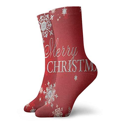 Sportliche Herrensocken Crew Socks Red Merry Christmas Trendy Unisex Dress Stocking Gift Sock Clearance for Teens
