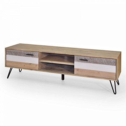 Lowboard Akazie Massiv 180 x 55 x 45 cm TV Board mit 2Türen Mehrfarbig / Bunt