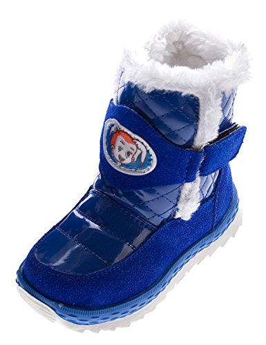 Stiefel Kinder Fellrand Klettverschluss Winter Schuhe Warmfutter Blau Glanz Gr. 25