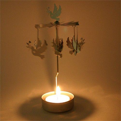 Té luz vela de Navidad de paloma Carousel–plateado