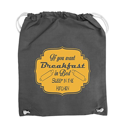 Comedy Bags - If you want Breakfast in Bed - KITCHEN - Turnbeutel - 37x46cm - Farbe: Schwarz / Silber Dunkelgrau / Gelb