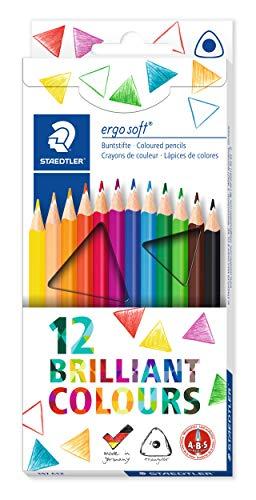 Staedtler Buntstifte ergo soft, erhöhte Bruchfestigkeit, dreikant, Set mit 12 brillanten Farben, ABS-System, rutschfeste Soft-Oberfläche