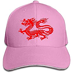 Chinese Magic Dragon Casual Unisex Unstructured Cotton Cap Adjustable Baseball Hat Cap Pink