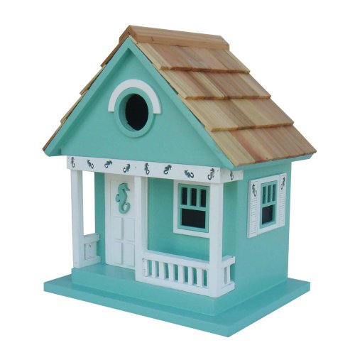 Home Bazaar Sea Horse Cottage Birdhouse, Aqua