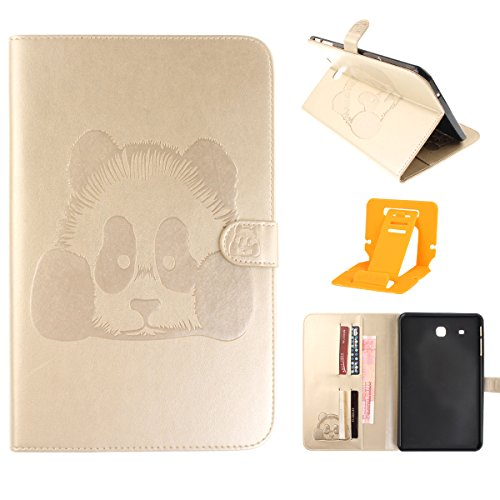 Samsung Galaxy Tab E 9.6 T560 Coque,Samsung Galaxy Tab E 9.6 Housse,Ekakashop Ultra-Mince Design Animé Mignon Motif Panda Or Rose PU Cuir Protecteur Shell Case Tablette à Rabat Fermeture Magnétique Pl Panda D'or