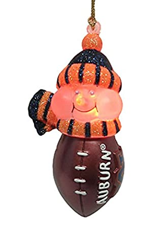 NCAA Auburn Tigers LED Lighted Football Snowmen Christmas Ornament
