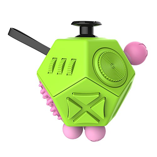 Huayang| 12-Side Fidget Cube Toys - Relieves Stress and Increases Focus for Adults with ADHD ADD OCD Autism- Anti-anxiety and Depression Cube for Children and Adults-Green -