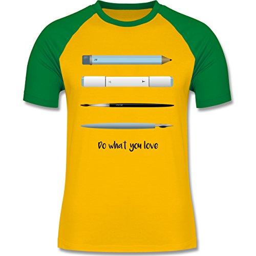 Designer - Love art - zweifarbiges Baseballshirt für Männer Gelb/Grün