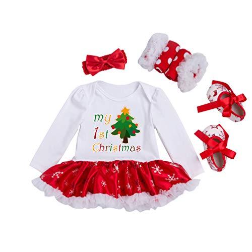 YuanDian Baby Mädchen 4tlg Kleid Weihnachten Bekleidung Set Neugeborenes Outfit Kleinkind Weihnachtskostüm Strampler Body Kleid + Stirnband + Beinwärmer + Schuhe Babykleidung 1# Baum 0-3 Monate
