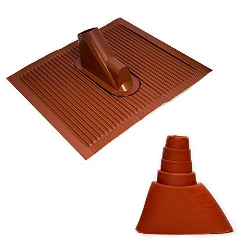 Dachabdeckung mit Kabeleinführung Alu-Dachziegel Rot Dach Montage Abdeckung Ziegel Dachpfanne für Sat Dachsparrenhalter + Universal Gummimanschette Rot