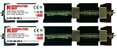 Komputerbay 4GB (2X2GB) DDR2 PC2-5300F 667MHz CL5 ECC Fully Buffered 2Rx4 FB-DIMM (240 PIN) w / Heatspreader für Apple-Computer