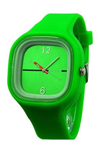 SODIAL (R) Unisex Bunte Gelee Silikon Mode Quarz Armbanduhr gruen