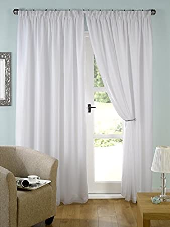 Pair Of Ready Made White Lined Tape Top Curtains (90