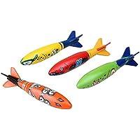Isuper Juguetes Submarinos de Buceo,Torpedo Bandits Piscina Buceo de Plástico Juego de Verano Juego para Piscina y Bucear 4pcs