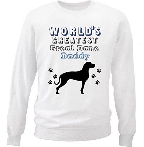 teesquare1st Men's Great Dane 2 - World's Greatest Daddy White Sweatshirt Size XLarge (Adult Dane Sweatshirt Great)