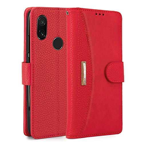 "LOKAKA Funda Xiaomi Redmi Note 7/Note 7 Pro/Note 7S,Soporte Plegable, Ranuras para Tarjetas, Cierre magnético,Funda Tapa para Xiaomi Redmi Note 7 (Rojo, 6.3"")"