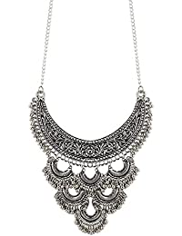 Aradhya Antique Oxodised Silver Strand Necklace for Women