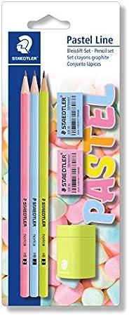 مجموعة أقلام الرصاص باستيل لاين 13043SBKP1 من ستيدلر (قرطاسية مع أقلام رصاص ومبراة وممحاة)
