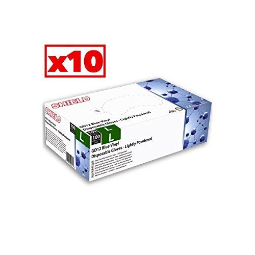 Scudo Blu vinile Guanti leggermente in polvere-scatola di 10scatole di 100-GD12_ (Scudo Polvere)