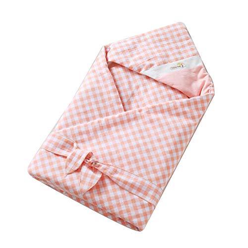 Sweet Baby Cotton Swaddle Wrap Muslin Blanket avec capuche Pantalons bébé Couvertures Emmailloter flanelle Couvertures 1Pc Rose
