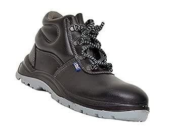Allen Cooper 1008 Hi-Ankle Safety Shoe, Size-8 UK, Black-Grey (Free Socks)