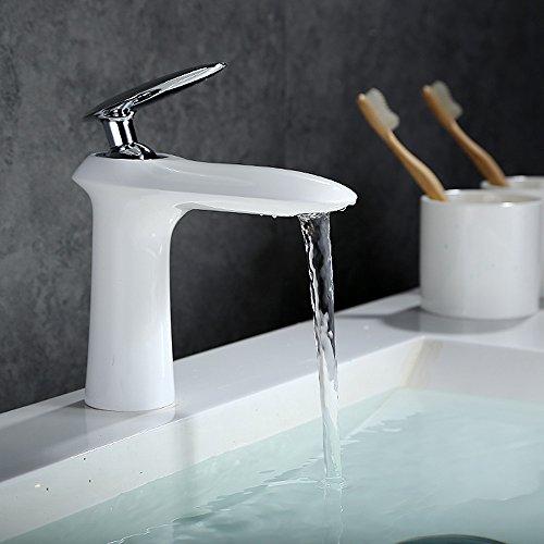 Homelody – Edle Waschtischarmatur, Einhebelarmatur, ohne Ablaufgarnitur, Luftsprudler, Weiß-Chrom - 3