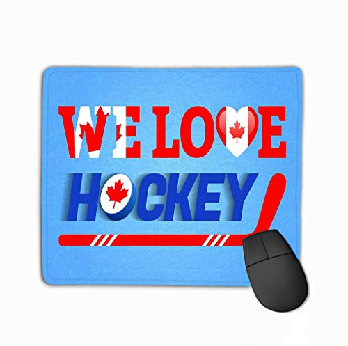Mouse Pad Love Hockey Poster Canada national Flag Heart Symbol Traditional Canadian Colors Good idea Clothes Rectangle Rubber Mousepad 11.81 X 9.84 Inch