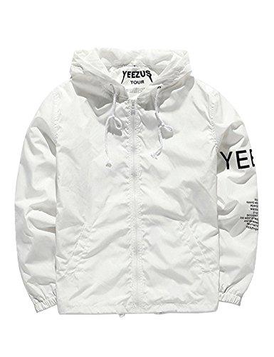SOTEER Windbreaker Coole Jacke Mit Kapuzen Streetwear Unisex Damen Herren Jungen Mädchen Reißverschluss Cool Schwarz Weiß -