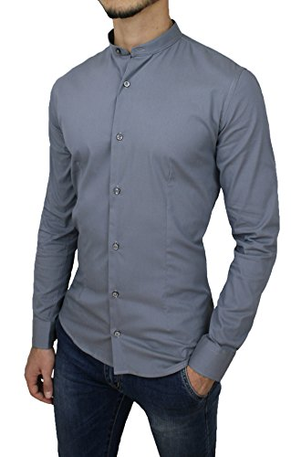 Camicia uomo casual slim fit grigio in cotone con colletto alla coreana (xxl)