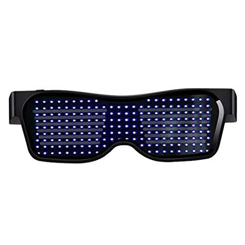 c5e6491f6c87 Brownrolly Nuevo Magic LED Light Glasses Pantalla App Gafas Discoteca DJ  Bar Equipo Judi Resplandor en la Oscuridad Gafas Bluetooth Gafas de  Halloween ...