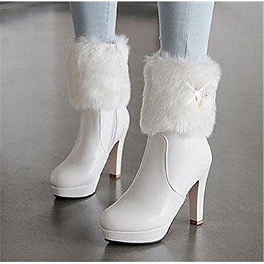 GLL&xuezi Da donna Stivaletti Comoda Pelle nubuck PU (Poliuretano) Primavera Autunno Casual Bianco Rosa 10 - 12 cm white