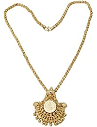 Radha's Creations Traditional Lakshmi Pendant Necklace Length 18 Inches One Gram Gold Plated For Women And Girls
